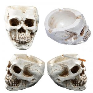 ashtray head of dead skull smiling not dear