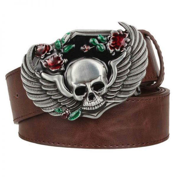 belt head of dead skull angel brown belt head of death