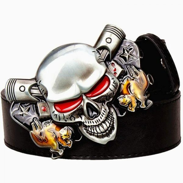 belt head of dead skull demonic brown belt head of death
