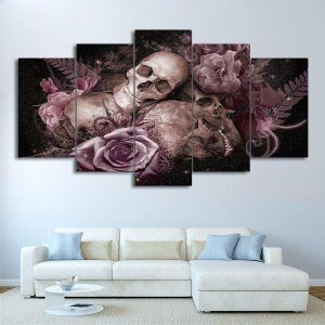 board head of dead flowers of mourning format xxl with frame decoration head of death