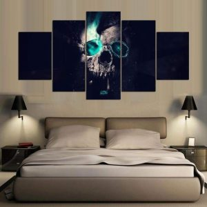 board head of dead skull broken format xxl with frame decoration head of death