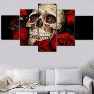 board head of dead skull flowery format xxl with frame not dear