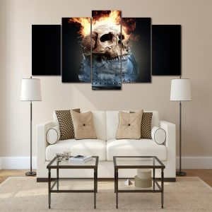 board head of dead skull in fire water format xxl with frame decoration head of death