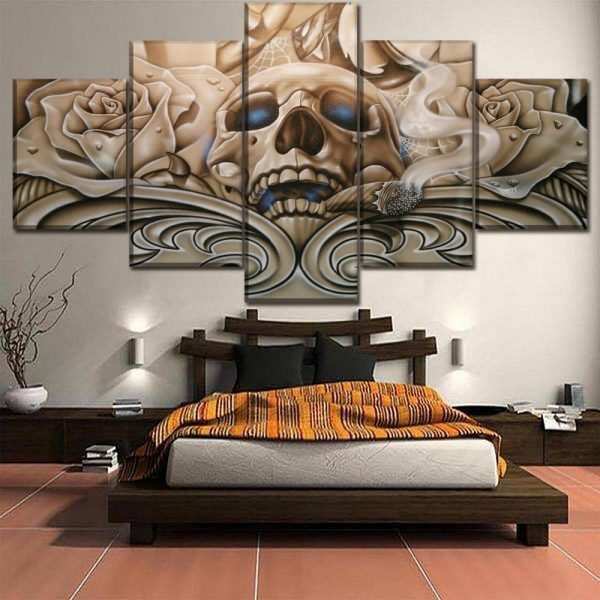 The godfather skull canvas painting