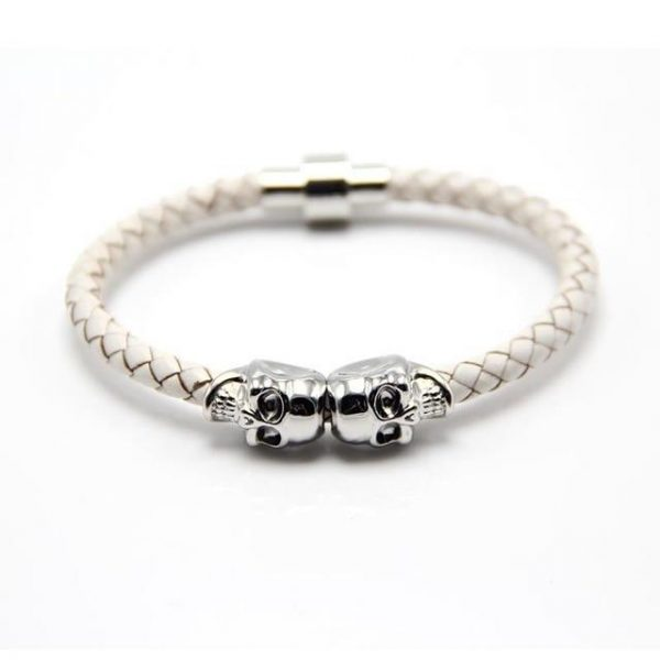 bracelet head of dead leather braided silver white at sell