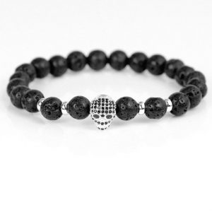 bracelet head of dead rhinestones diabolical black skull kingdom