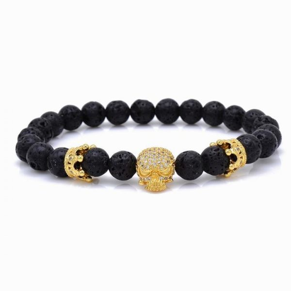 bracelet head of dead skull crowned gold 21cm jewel head of death