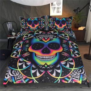 cover of quilt head of dead skull multicolored great king had 240x260cm not dear