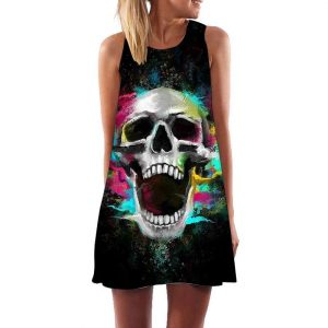 dress head of dead multicolored gothic xl dress head of death