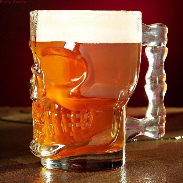 glass head of dead mug at beer accessory head of death