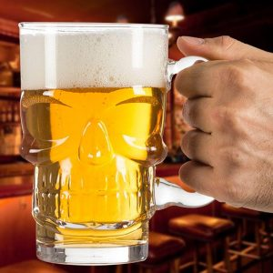 glass head of dead mug at beer price