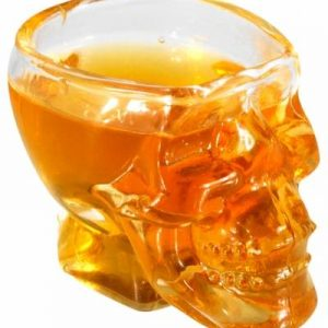 glass head of dead whiskey lot of 2 pieces
