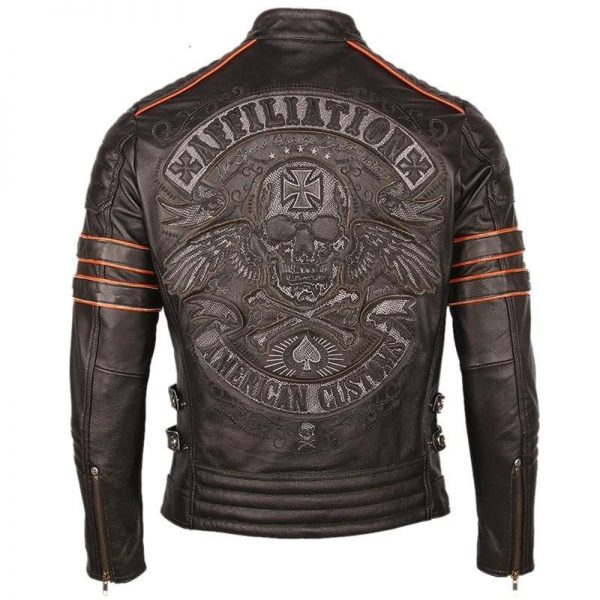 jacket head of dead mind biker leather xxl skull kingdom