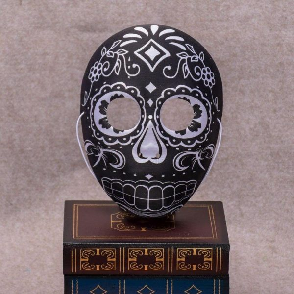 mask head of dead mexican black yellow accessory head of death
