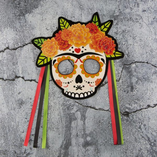 mask head of dead party of dead mexico accessory head of death