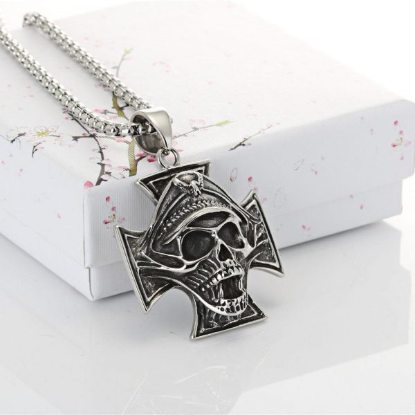 necklace head of dead cross of iron