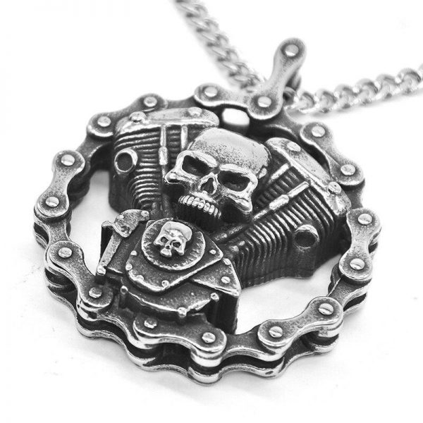 Motorcycle engine skull necklace