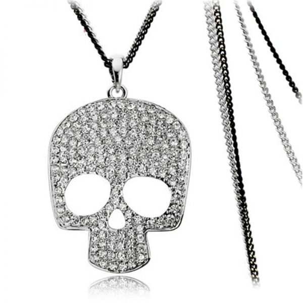 Rhinestone skull necklace 2 colors