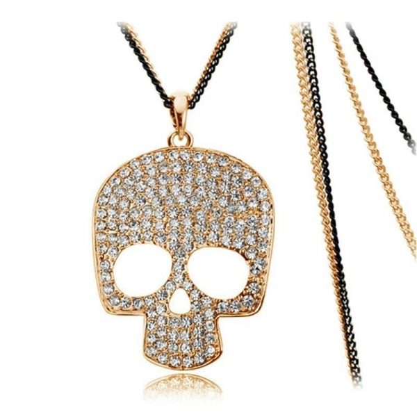 necklace head of dead rhinestones 2 colors gold at sell