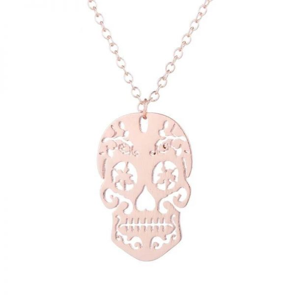 necklace head of dead skull mexican 3 colors gold pink jewel head of death