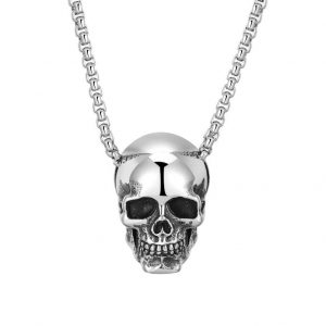 necklace head of dead skull silver
