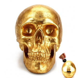 piggy bank head of dead golden skull skull kingdom