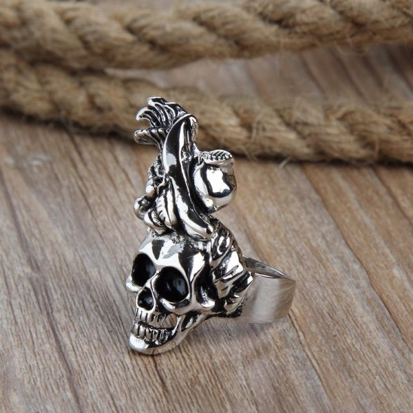 ring head of dead african fruits steel cut unique adjustable ring head of death