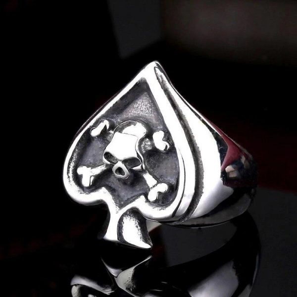 ring head of dead as of spades steel 70 skull kingdom