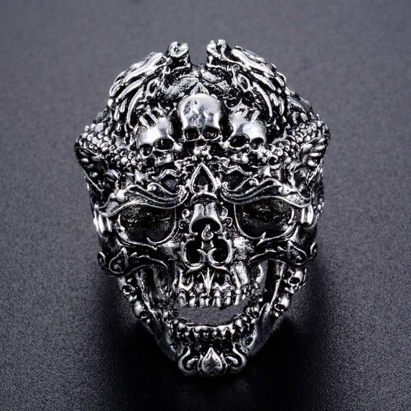 ring head of dead biker damn steel 70 or skull kingdom