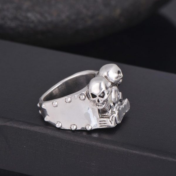 ring head of dead biker twin cylinder steel cut unique adjustable ring head of death