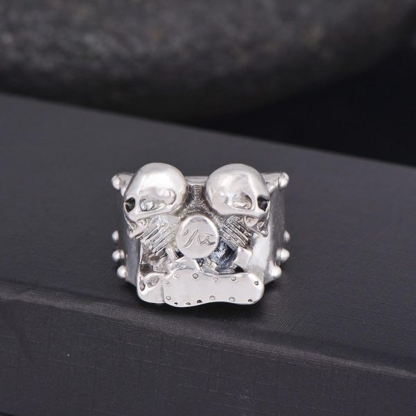 ring head of dead biker twin cylinder steel cut unique adjustable skull kingdom