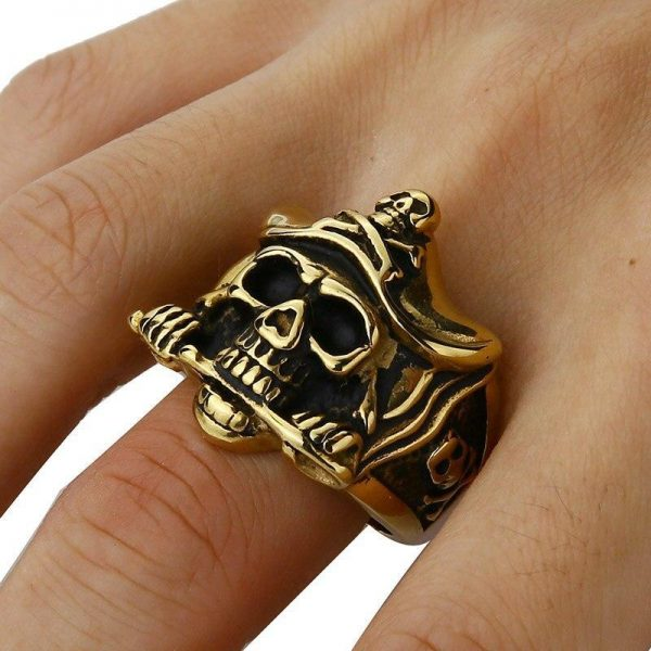 ring head of dead captain pirate 15 75 mm gold