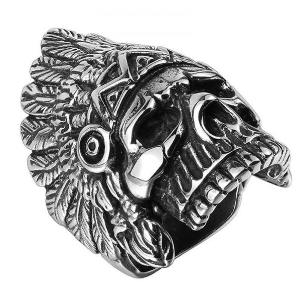 ring head of dead chief indian 15 75 mm jewel head of death