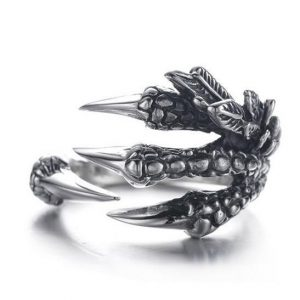 ring head of dead claw of dragon cut unique adjustable jewel head of death