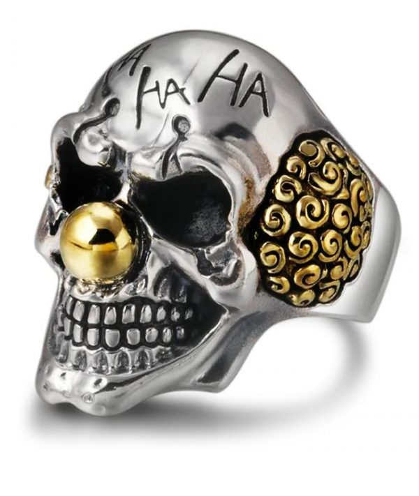 ring head of dead clown laughing silver