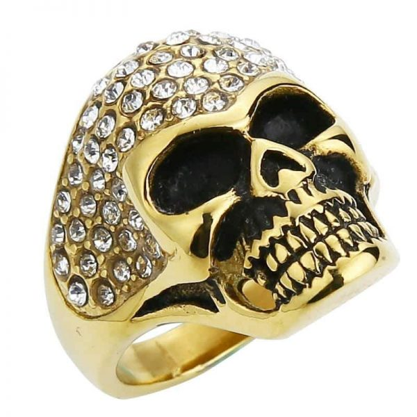 Fancy diamond skull ring