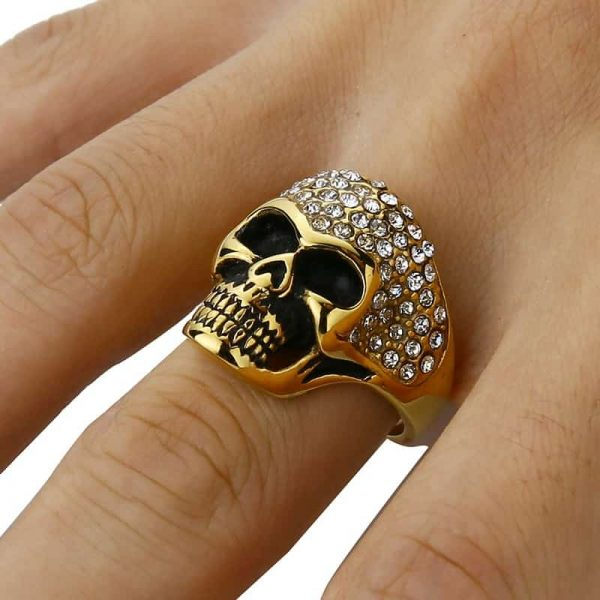 ring head of dead diamond fancy 15 75 mm gold ties head of death
