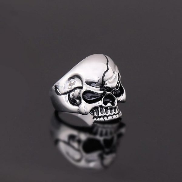 ring head of dead look mortal steel cut unique adjustable