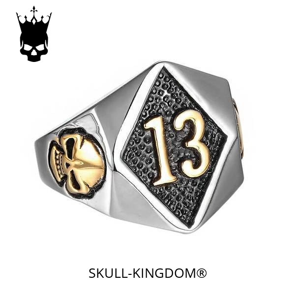 ring head of dead lucky 13 silver gold 15 75 mm