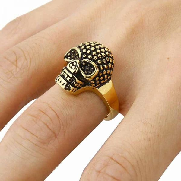 ring head of dead rhinestones fancy golden 15 75 mm skull kingdom