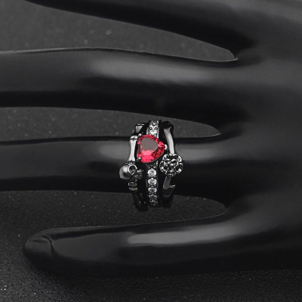 Skull ring set love steel