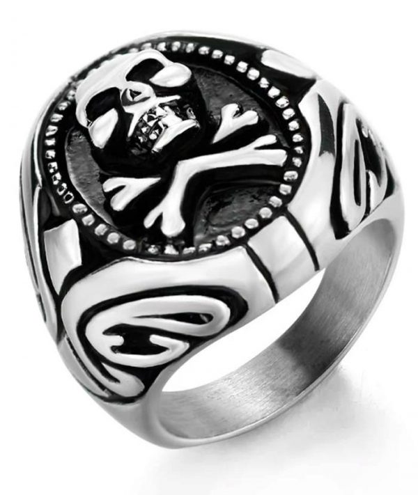 ring head of dead signet ring pirate steel 70