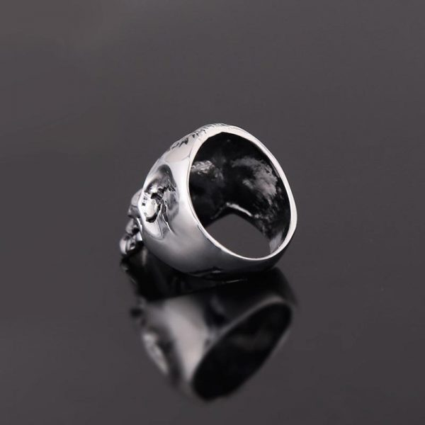 Steel skull signet ring