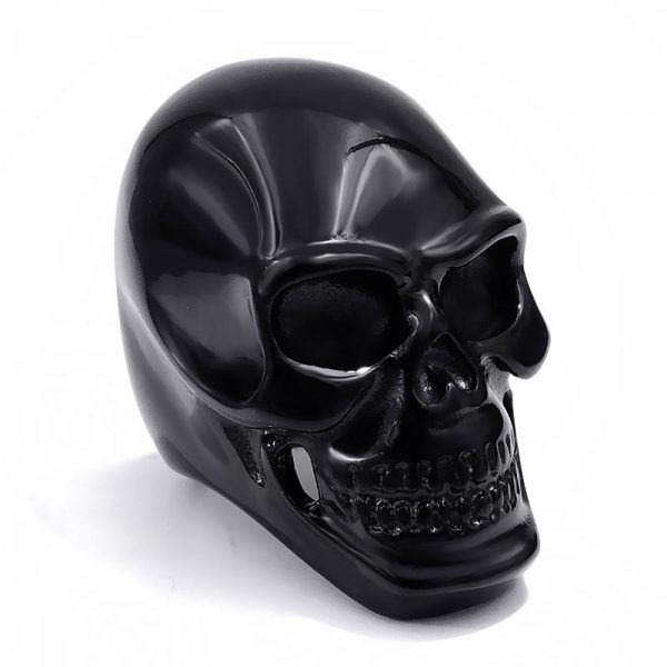 ring head of dead skull black steel 75