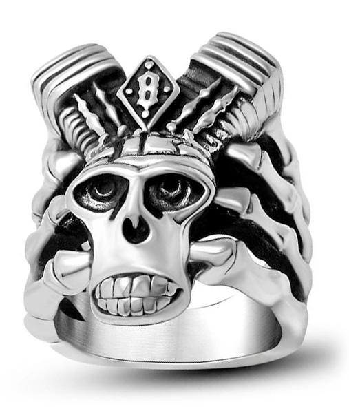 ring head of dead turbo biker steel 68 skull kingdom