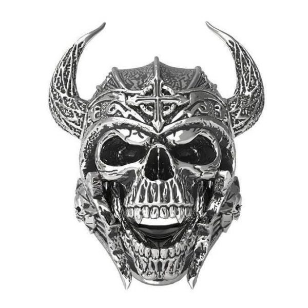 ring head of dead viking skull 15 75 mm black