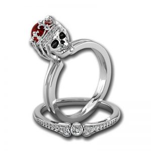 ring head of dead women crowned red 12 67mm jewel head of death