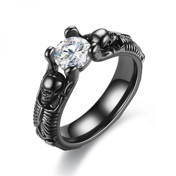 Skeleton woman skull ring