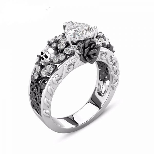 ring head of dead women skull flowery 12 67mm black skull kingdom