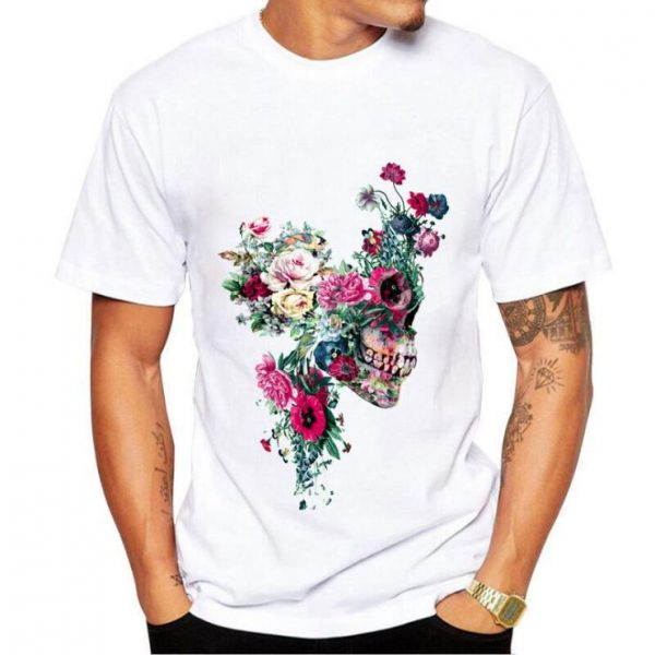 shirt skull flower skull man